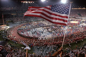 19 Jul 1996:  An AMerican flag is waved during the Opening Ceremony of the 1996 Centennial Olympic G