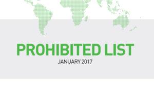 Prohibited List WADA 2017